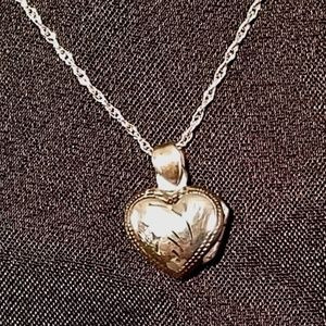 "Sterling Silver Heart Locket w/ 18"" Rope Chain"